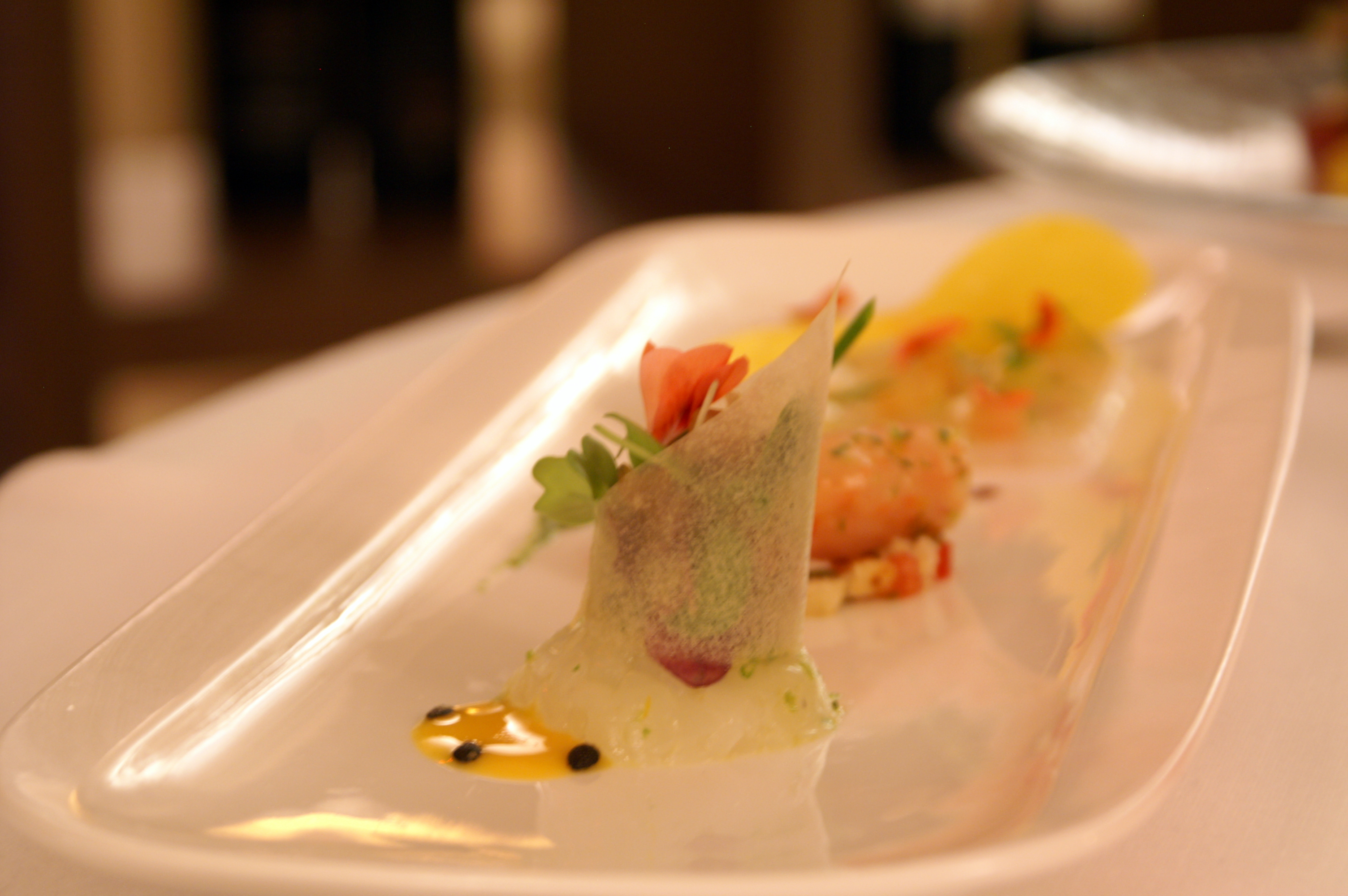 """Plate of raw fish of sea bass, red crayfish, prawn at La Sommità Relais restaurant """"Cielo"""""""