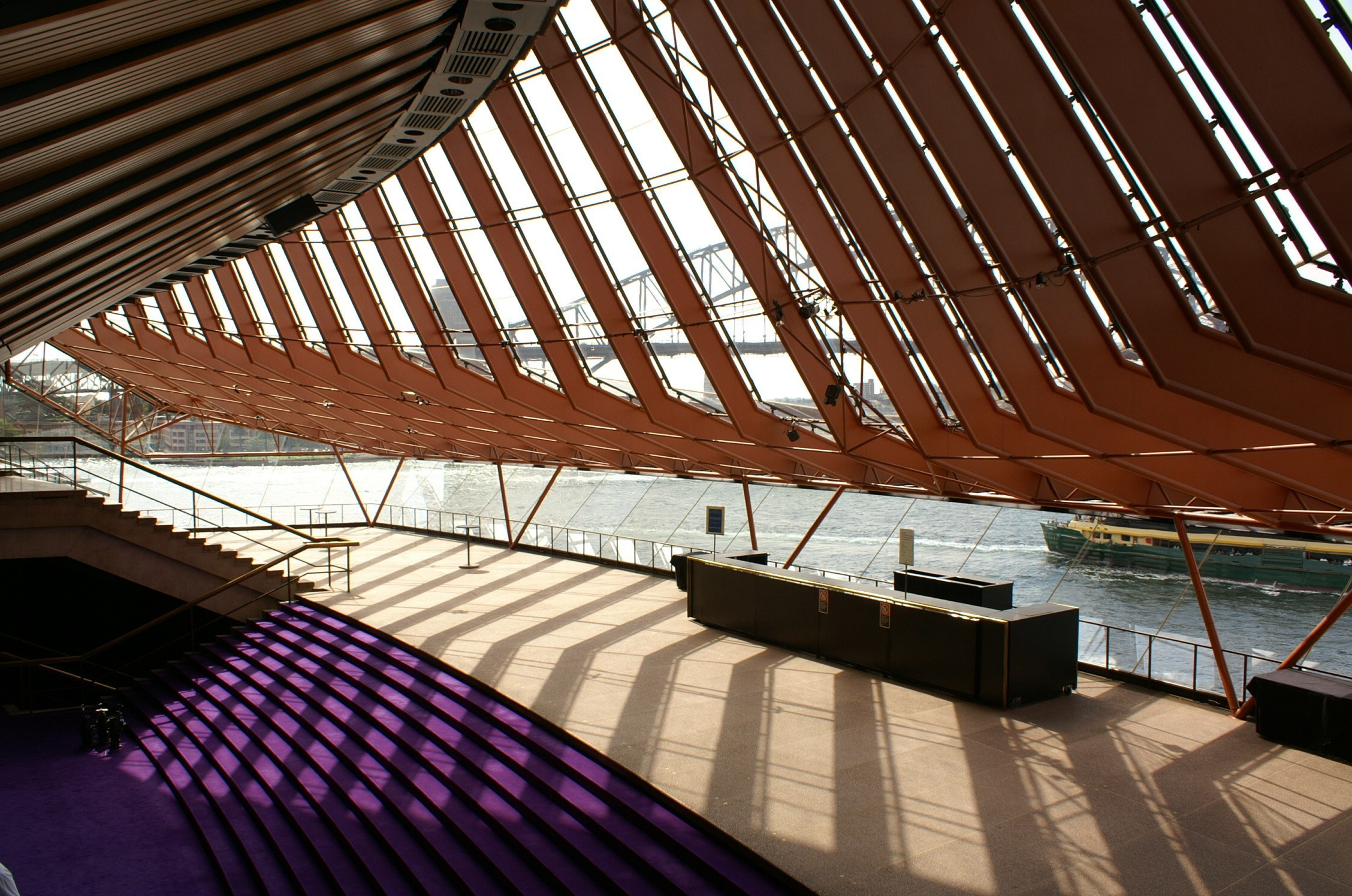 View of concert hall's northern foyer towards Sydney harbour bridge
