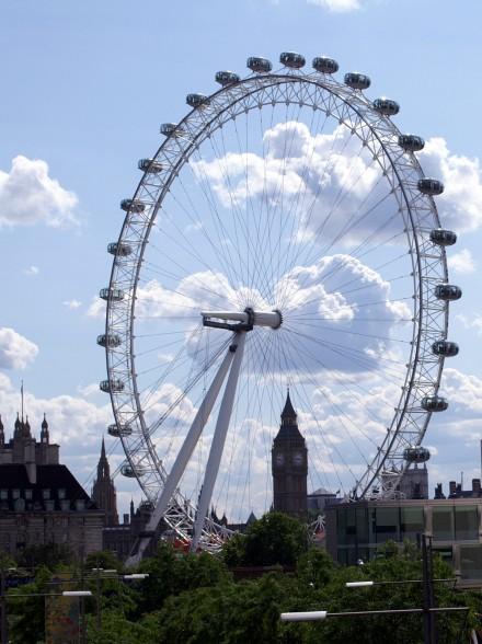 London Eye in front of Big Ben