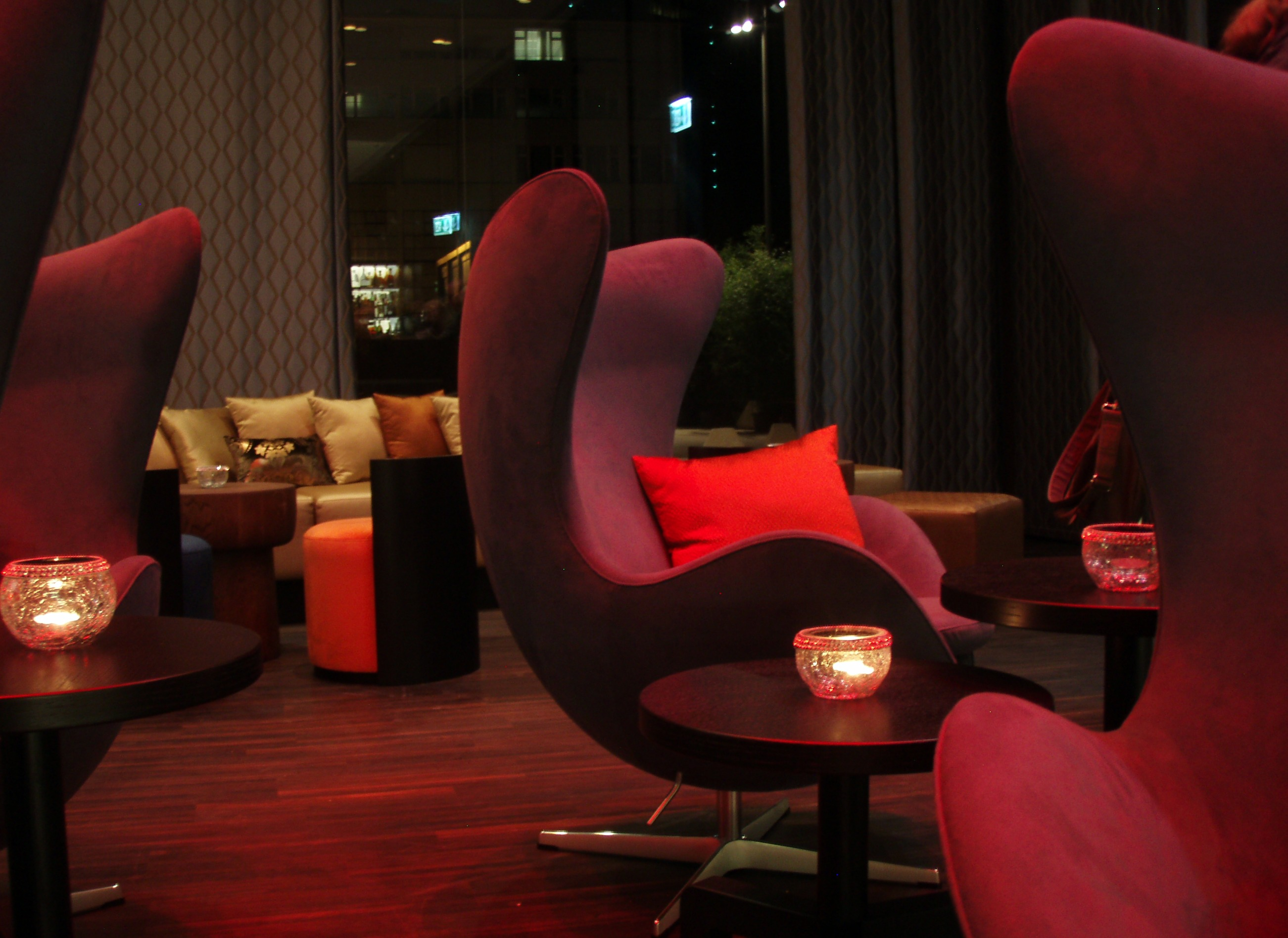 Stylish colorful armchairs in the hotel's lounge
