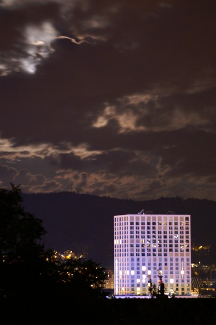 View from Wipkingen of Renaissance Tower Hotel Zurich by cloudy Moonshine