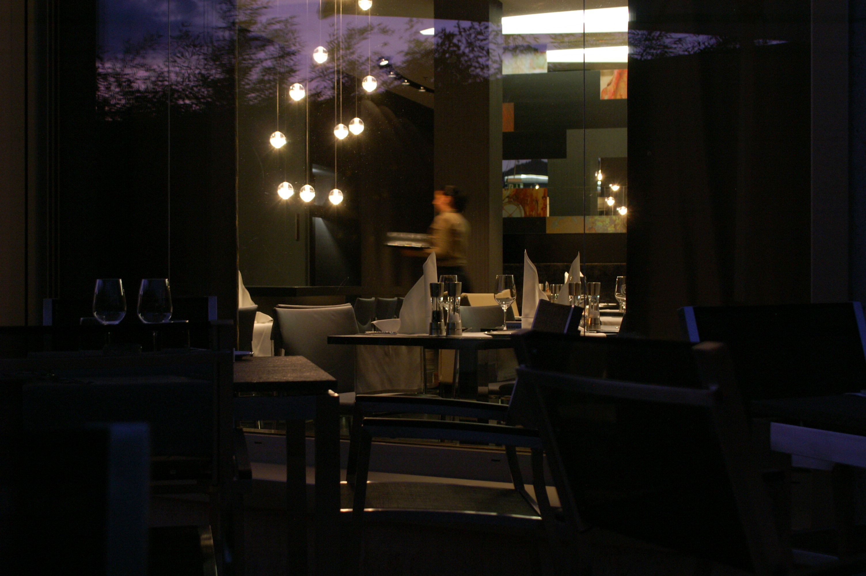 View of Equinox Restaurant window at the Renaissance Zurich Tower Hotel