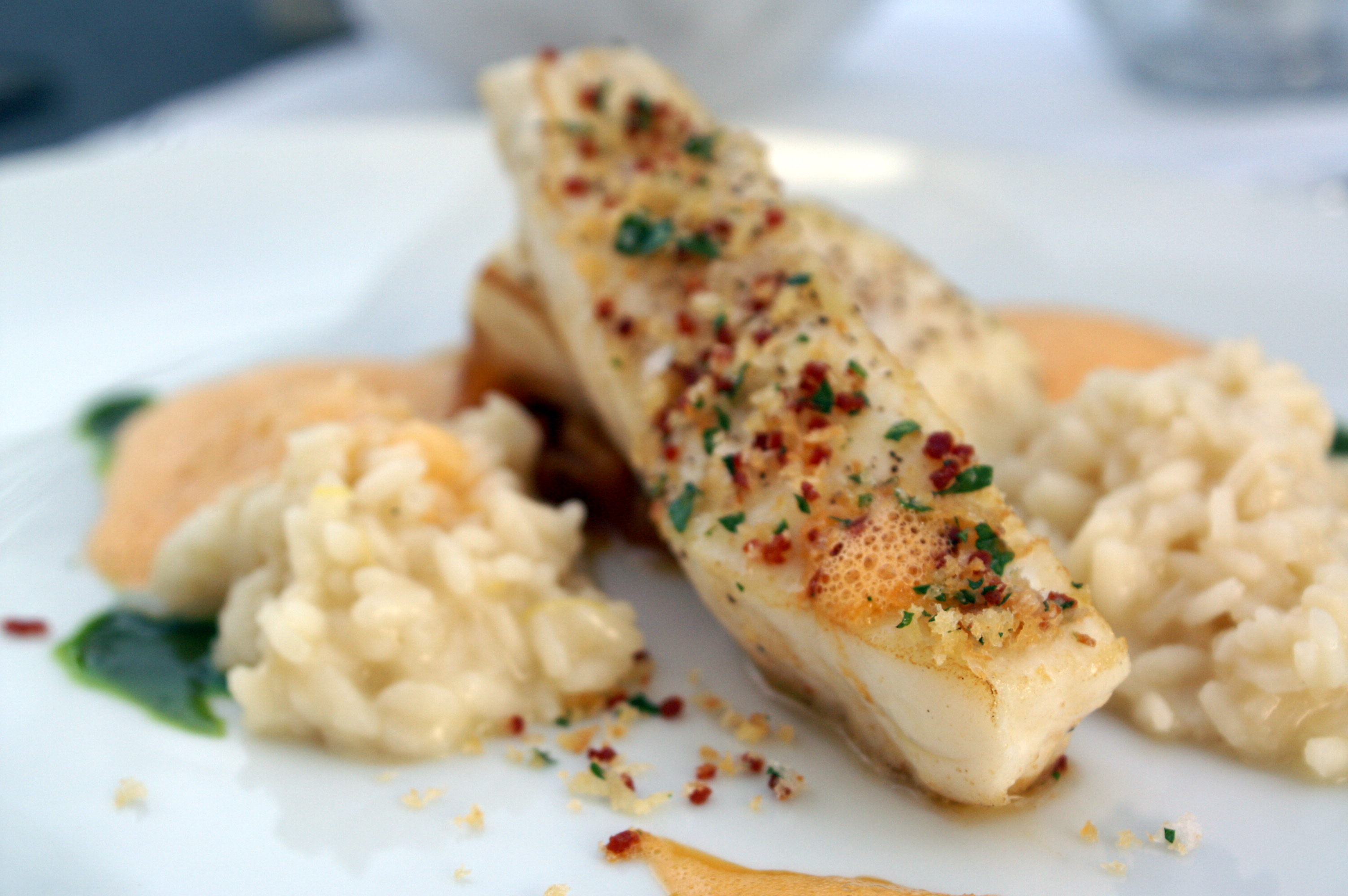 Close-up of turbot on risotto main dish at Renaissance Zurich Tower Hotel's Equinox Restaurant