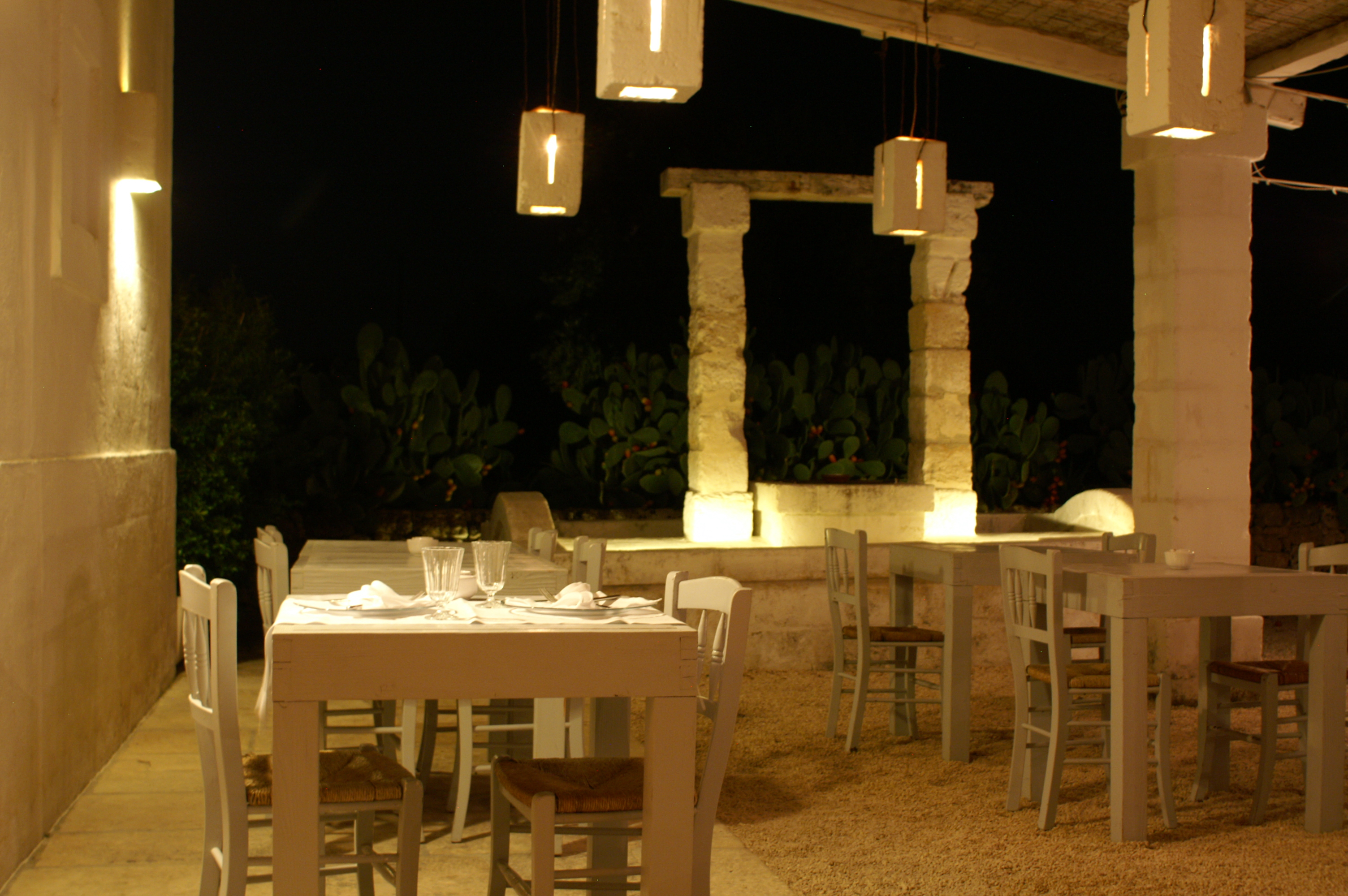 Outdoor Restaurant at Masseria Cimino, Puglia, Italy