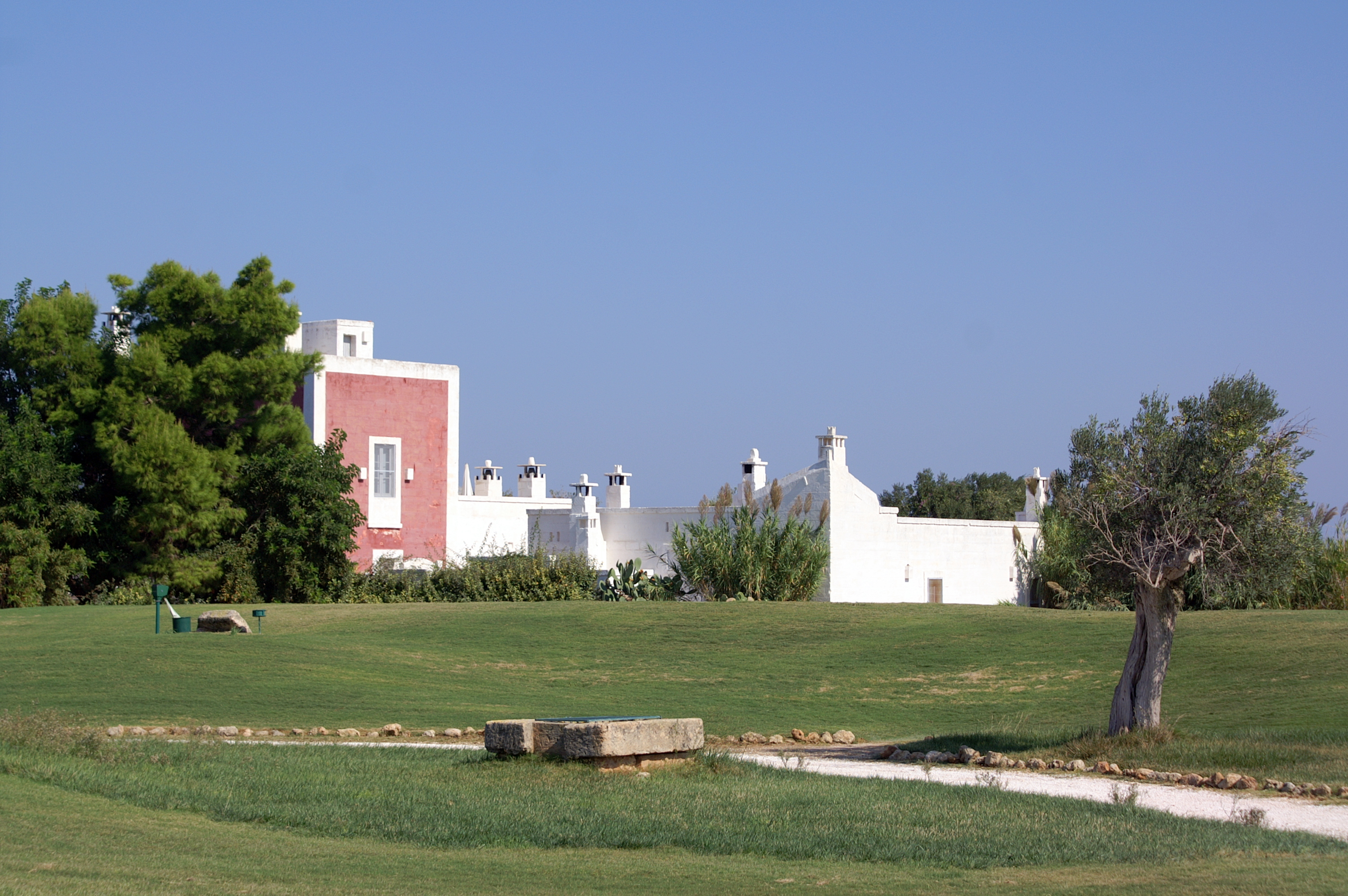 San Domenico Golf Course, view of Masseria Cimino from the Golf Course