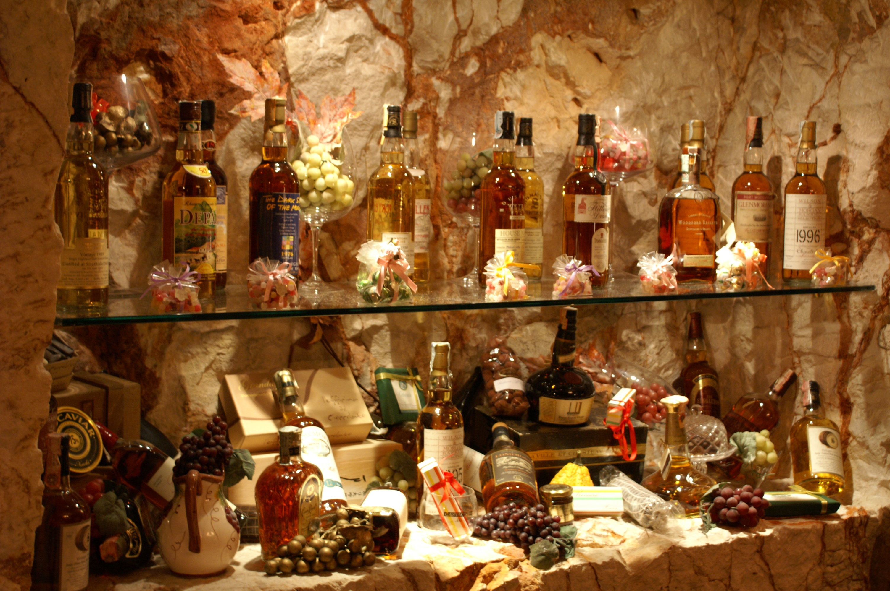 """Bar in the cavernous """"Osteria del Tempo Perso"""" restaurant"""
