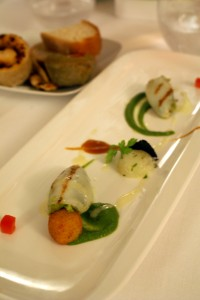 """Starter: Grilled squids """"Spillo"""" stuffed with broccoli and canestrato cheese at La Sommità Relais hotel restaurant"""