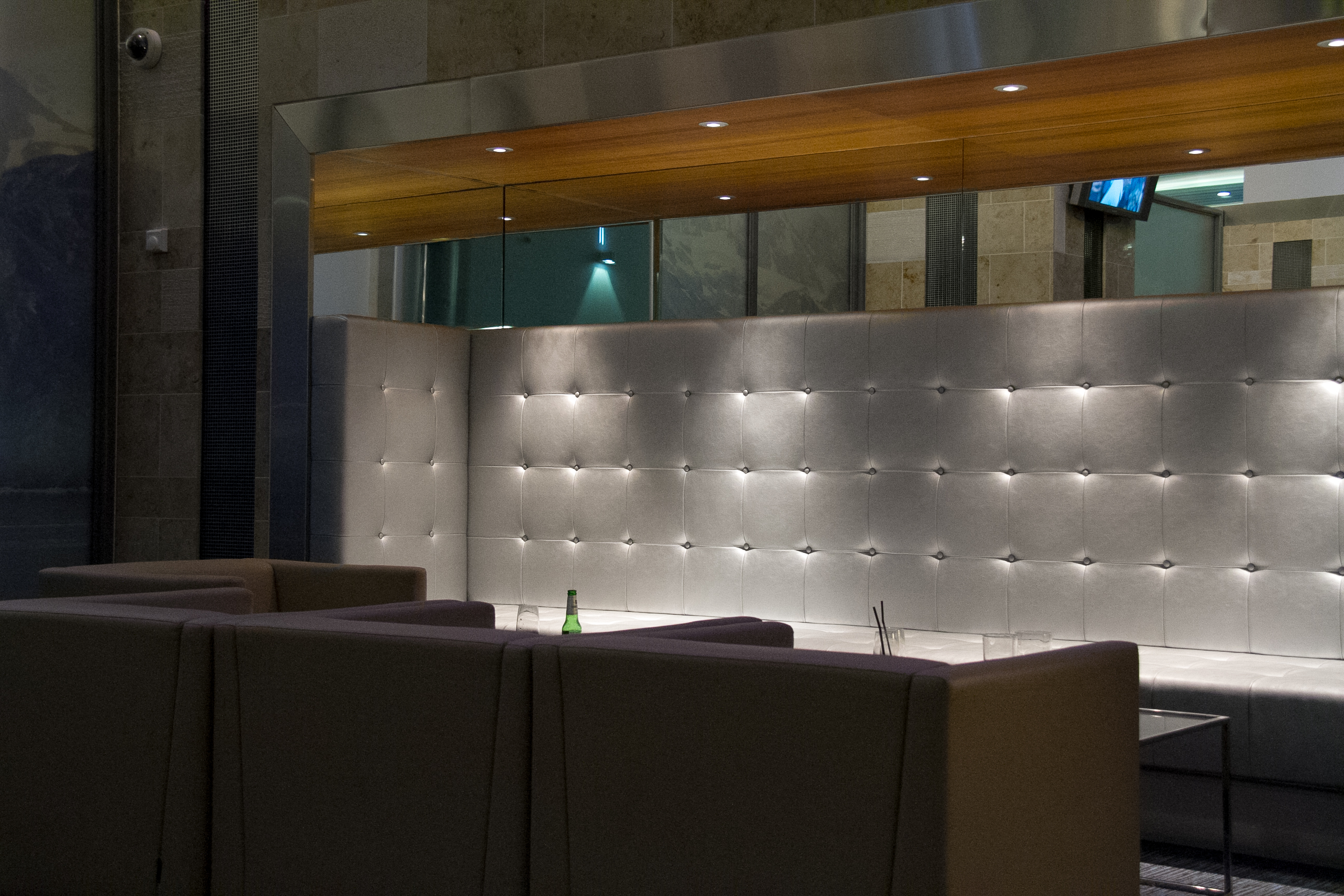 Silver seats at Sofitel London Heathrows's Sphere bar