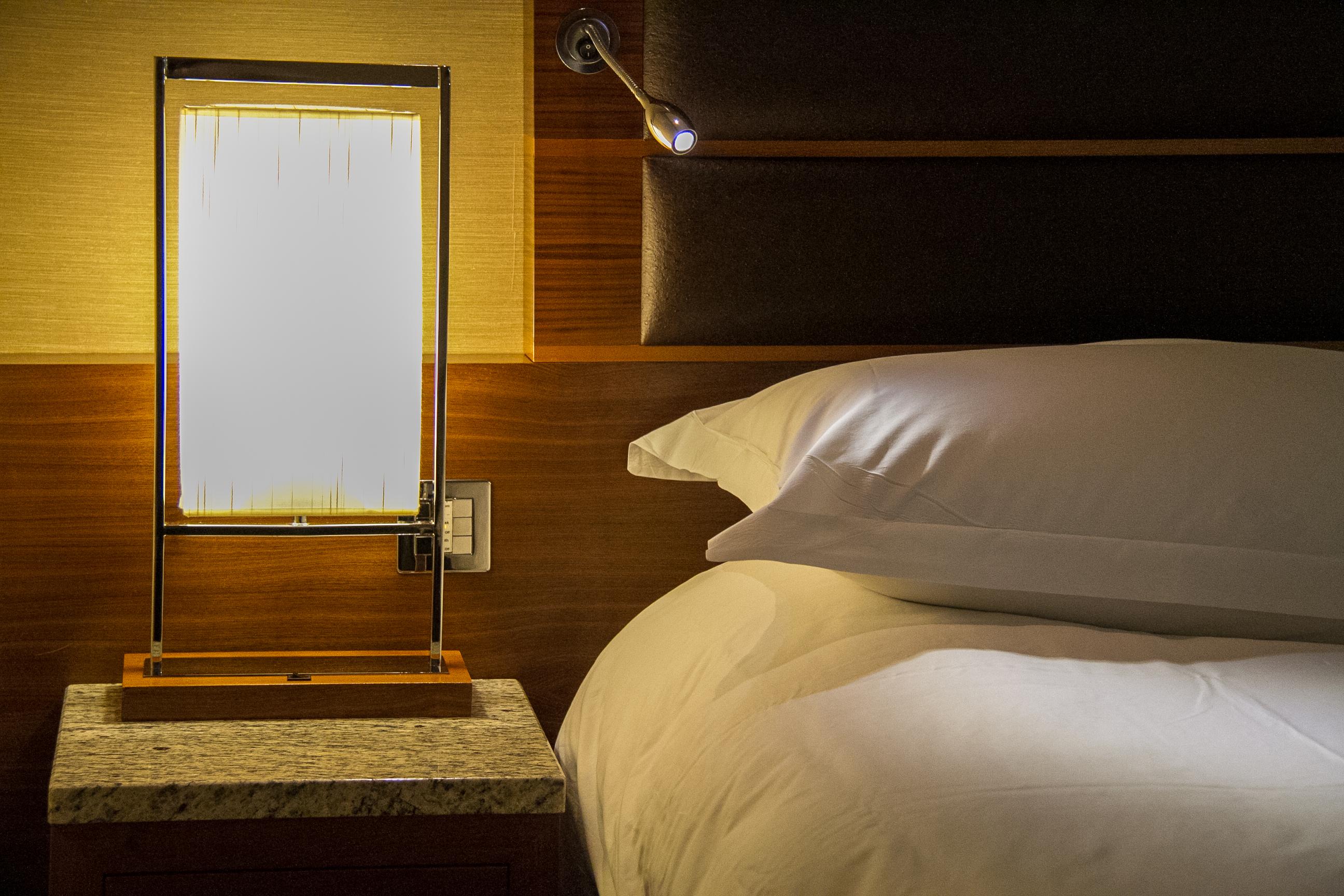Bedside lamp in the Sofitel London Heathrow hotel
