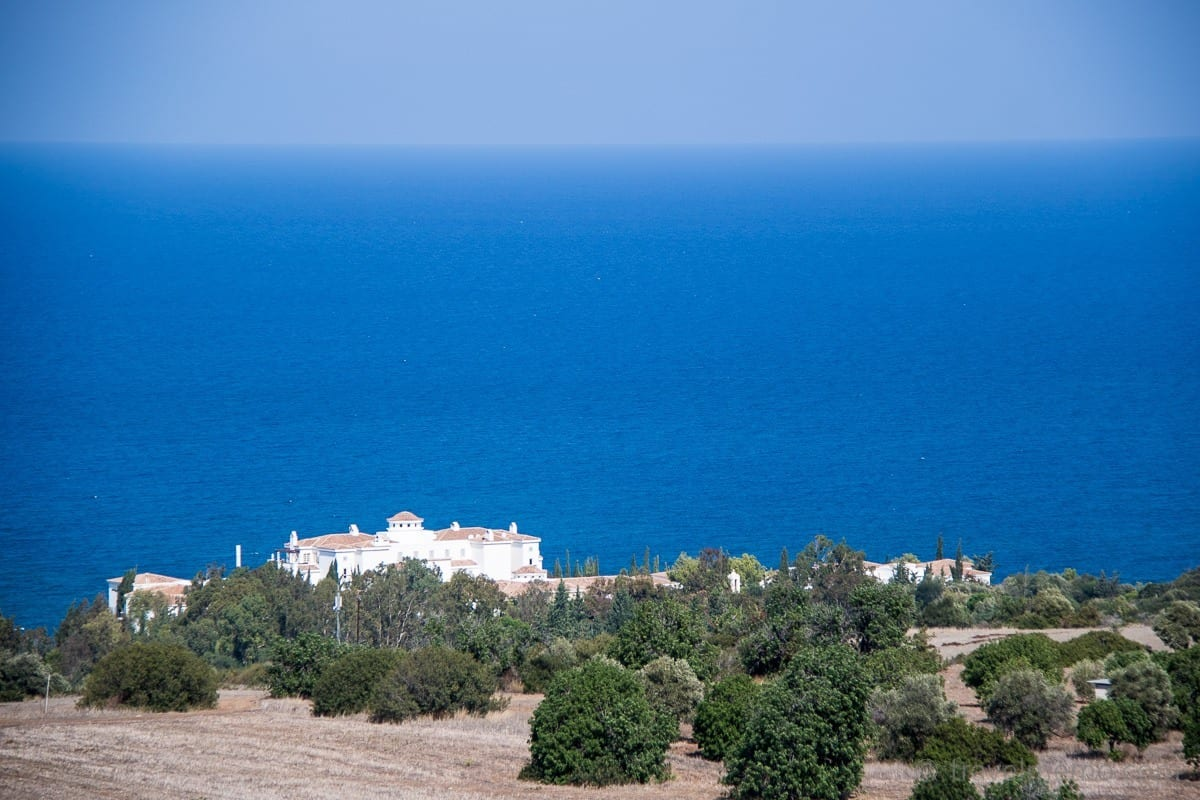 View of Anassa hotel and the Mediterranean Sea from Neo Chorio