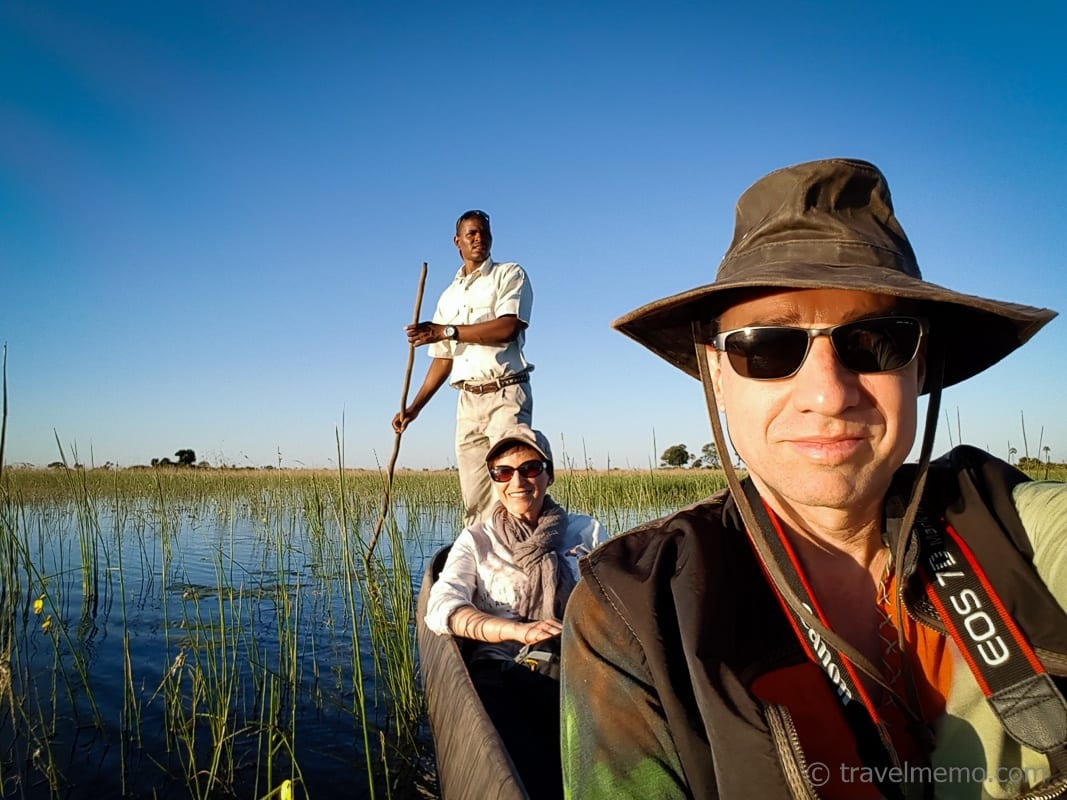 Katja and Walter on a Mocoro in Okavango Delta