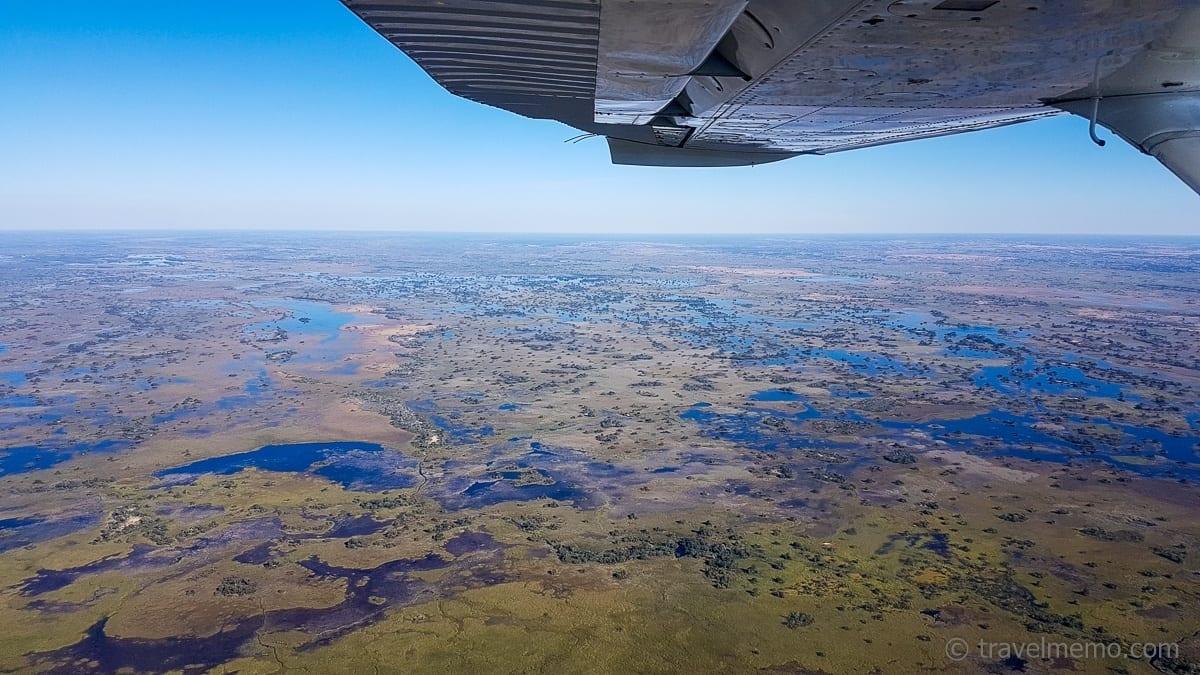 Aussicht vom Flugzeug aufs Okavango Delta