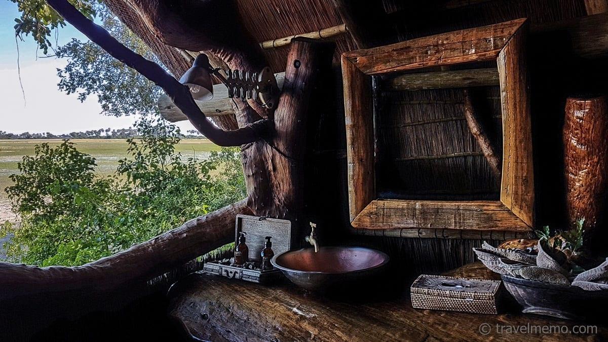 Toilette mit Aussicht im Tubu Tree Camp